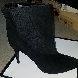 Nine West black suede pointy toe bootie